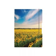 CAIET MY.BOOK FLEX A5 40F 70GR, PATRATELE, COPERTA SUNFLOWERS, ELASTIC GALBEN