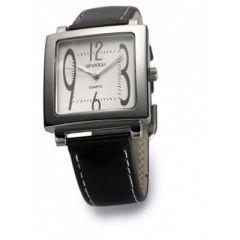 Ceas de mana metalic - cadran rectangular - curea imitatie piele neagra