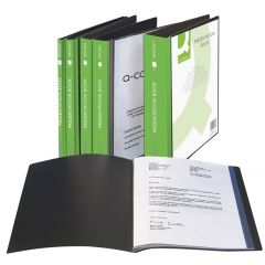 Dosar de prezentare personalizabil, cu  20 folii, A4, coperta rigida, Q-Connect - negru