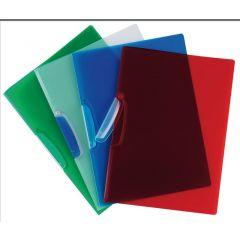 Dosar din plastic cu clema pivotanta, Q-Connect - rosu transparent