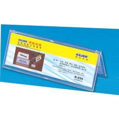 Display nume pentru birou, din plastic, forma A,  85 x 250mm, KEJEA - transparent