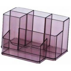 Suport plastic pentru accesorii de birou, 6 compartimente, 105 x 85mm, KEJEA - fumuriu