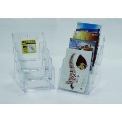 Display plastic pentru brosuri, de birou/perete, 4 x A5, KEJEA - transparent