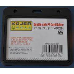 Suport PP dubla fata, pentru carduri, 105 x  74mm, orizontal, 5 buc/set, KEJEA - negru