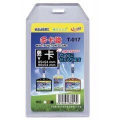 Buzunar dubla fata pentru ID carduri, PVC flexibil,  54 x 85mm, vertical, 5 buc/set, KEJEA - transp.