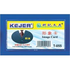 Ecuson dreptunghiular din plastic, pentru nume, 65 x 32mm, KEJEA - transparent