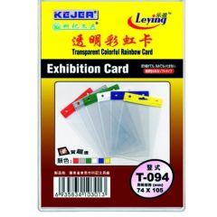 Buzunar PVC, pentru ID carduri,  74 x 105mm, vertical, 10 buc/set, KEJEA - margine color