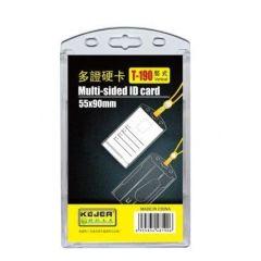 Suport dublu, PS rigid, pentru ID carduri, 55 x 90mm, vertical, 5 buc/set, KEJEA - trans. cristal