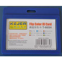 Suport PP tip flip, pentru carduri,  85 x  55mm, orizontal, 5 buc/set, KEJEA - bleumarin