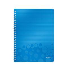 Caiet de birou LEITZ Wow, PP, A4, cu spira, matematica - albastru metalizat