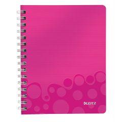 Caiet de birou LEITZ Wow, PP, A5, cu spira, dictando - roz metalizat