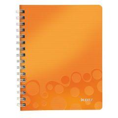 Caiet de birou LEITZ Wow, PP, A5, cu spira, matematica - portocaliu metalizat