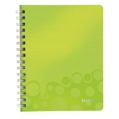 Caiet de birou LEITZ Wow, PP, A5, cu spira, matematica - verde metalizat