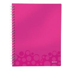 Caiet de birou LEITZ Wow Get Organized, PP, A4, dictando - roz metalizat