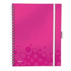 Caiet de birou LEITZ Wow Be Mobile, PP, A4, cu spira, dictando - roz metalizat