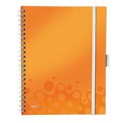 Caiet de birou LEITZ Wow Be Mobile, PP, A4, cu spira, dictando - portocaliu metalizat