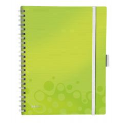 Caiet de birou LEITZ Wow Be Mobile, PP, A4, cu spira, matematica - verde metalizat
