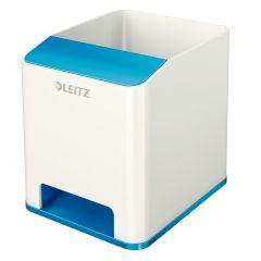 Suport instrumente de scris, LEITZ Wow cu amplificare sunet - albastru metalizat/alb