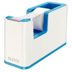 Dispenser cu banda adeziva inclusa LEITZ Wow, culori duale - albastru metalizat/alb