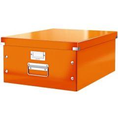 Cutie LEITZ Click & Store mare 369 x 200 x 484 mm, carton laminat - portocaliu
