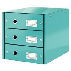 Suport cu 3 sertare, din carton laminat, LEITZ Click & Store - turcoaz