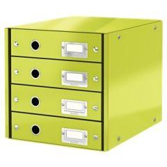 Suport cu 4 sertare LEITZ Click & Store, din carton laminat - verde