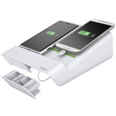 Duo-incarcator LEITZ Complete de birou, pentru 2 smartphone-uri sau o tableta PC - alb