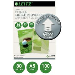 Folie LEITZ UDT pentru laminare la cald,  A5,  80 microni 100 folii/top