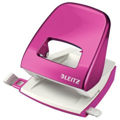 Perforator metalic LEITZ WOW 5008 NeXXt Series, cutie, 30 coli - roz metalizat