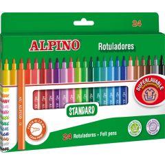 Carioca lavabila, 24 culori/cutie, ALPINO Standard - culori clasice