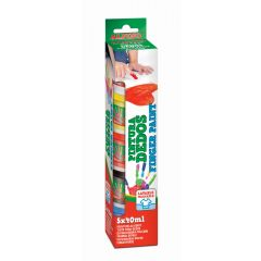 Tempera lavabila, pentru pictura cu mana,  5 culori x 40ml/set, ALPINO Finger Paint