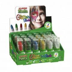 Display 5 culori machiaj, 24 buc/display, ALPINO Glitter Sticks
