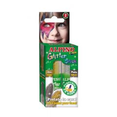 Set 2 culori machiaj, ALPINO Glitter Sticks - auriu/argintiu