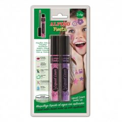 Tub machiaj, 6gr., 2 buc/blister, ALPINO Make-Up Liquid Liner - roz + violet