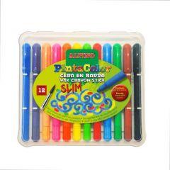 Creioane cerate subtiri, 12 culori/cutie, ALPINO PintaColor Slim