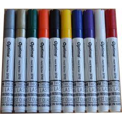 Marker cu vopsea Optima Paint 3710, varf rotund 4.5mm, grosime scriere 2-3mm - alb