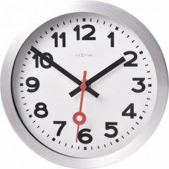 "Ceas de perete, D-19 cm, cifre arabe,aluminiu, NeXtime - ""Station"", alb"