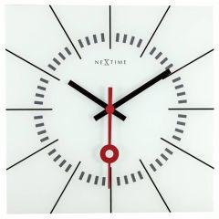 "Ceas de perete, 35x35 cm, sticla, NeXtime - ""Stazione"", alb"