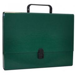 Servieta din carton laminat, A4/5cm, cu inchidere si maner, Office Products - verde