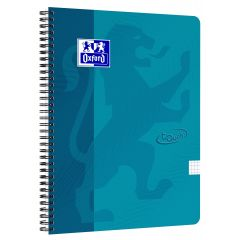 Caiet cu spirala A4, OXFORD School Touch , 70 file-90g/mp, 4 perf, coperta carton turcoaz - mate
