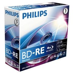 Blu-Ray disk Rewritable, 25GB, 2x, Jewelcase, PHILIPS