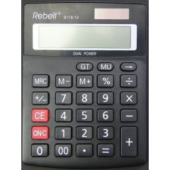 Calculator de birou, 12 digits, 137 x 104 x 23 mm, dual power, Rebell 8118-12 - negru