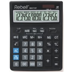 Calculator de birou, 16 digits, 206 x 155 x 35 mm, dual power, Rebell BDC 716T - negru