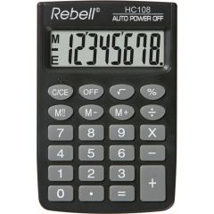 Calculator de buzunar, 8 digits,  88 x 58 x  8 mm, Rebell HC108 - negru