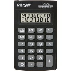 Calculator de buzunar, 8 digits, 114 x 69 x 18 mm, Rebell HC308 - negru