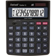 Calculator de birou, 12 digits, 147 x 115 x 32  mm, Rebell Panther 12 - negru