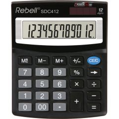 Calculator de birou, 12 digits, 125 x 100 x 27 mm, Rebell SDC 412 - negru