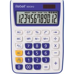 Calculator de birou, 12 digits, 145 x 104 x 26 mm, Rebell SDC 912 - alb/violet