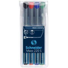Universal permanent marker SCHNEIDER Maxx 220 S, varf 0.4mm, 4 culori/set - (N, R, A, V)