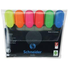 Textmarker SCHNEIDER Job, varf lat, 6 culori/set - (G, O, V, R, A, R)